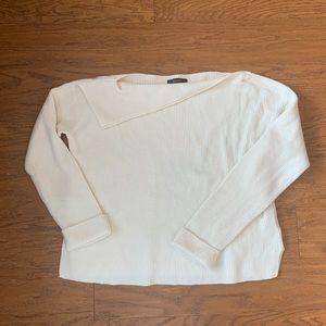 2/$30 Asymmetrical Neckline Cream Sweater